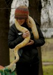Laura Childers holds an albino snake